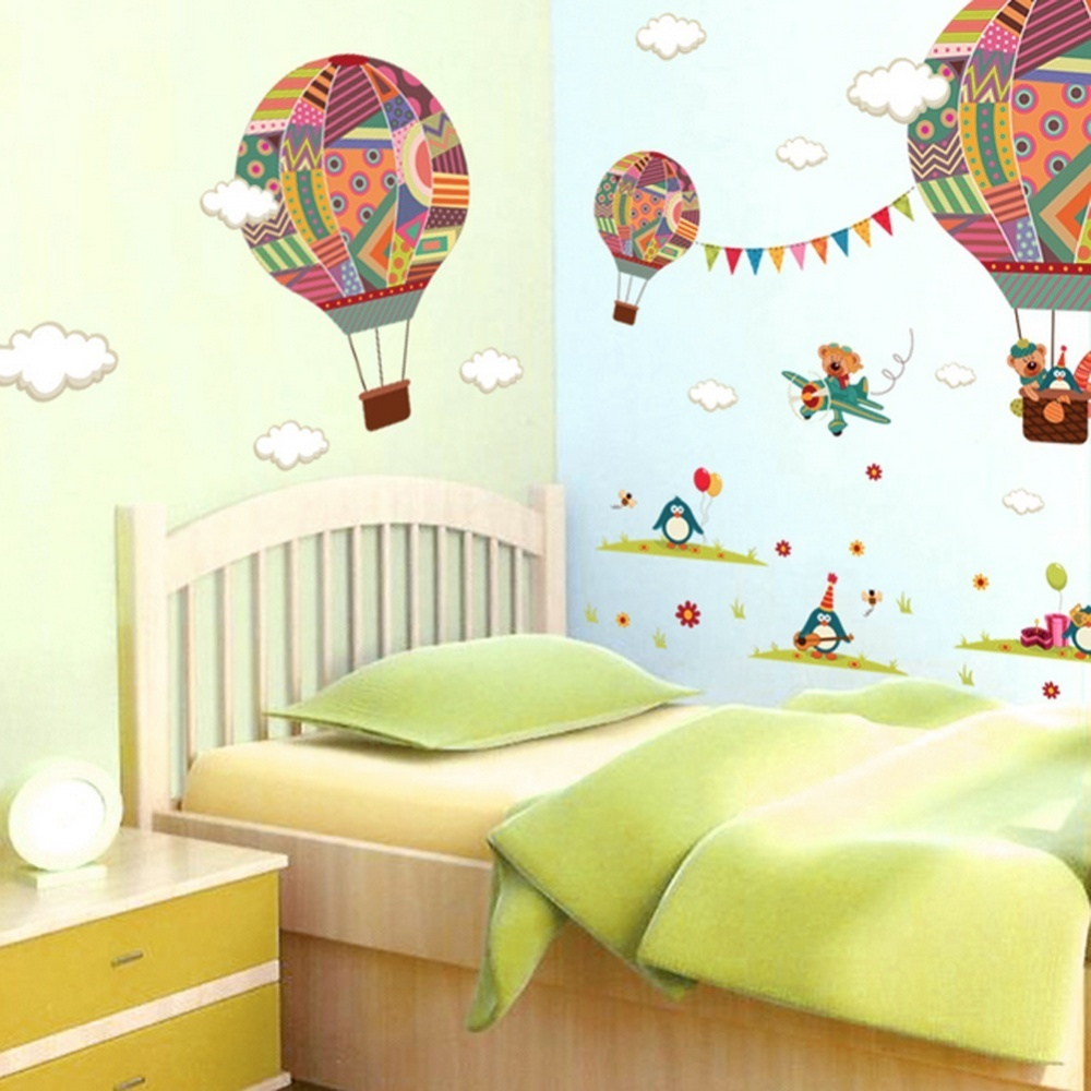 Hot air balloon shape wall living room background wall for V shaped living room