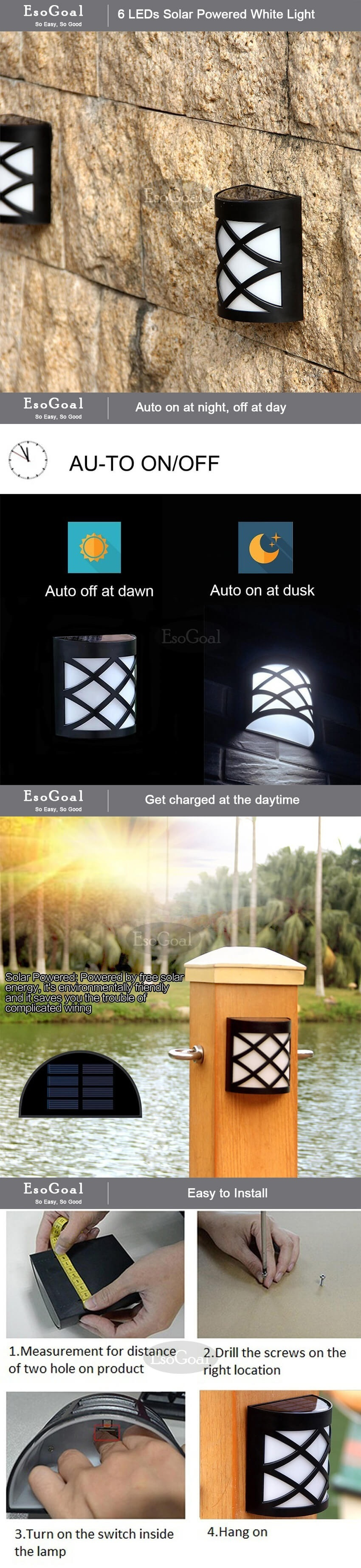 Esogoal solar fence post lights 6 led waterproof lighting outdoor specifications of esogoal solar fence post lights 6 led waterproof lighting outdoor wall mount light lamp for garden fence patio deck yard driveway aloadofball Images