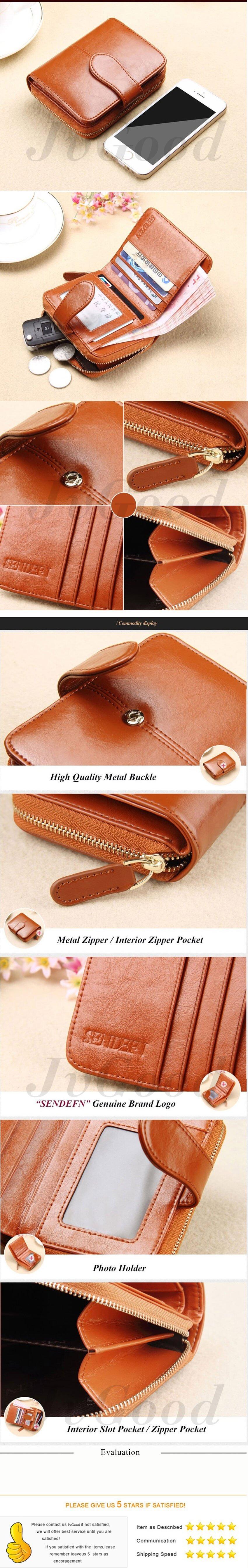 Product details of JvGood Oil Wax PU Leather Women Short Wallets Zipper Small Wallet Coin Pocket Credit Card Holder Handbag Female Purse Money Clip