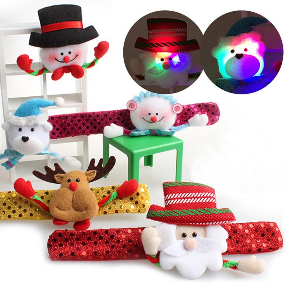 1 PC Christmas Glow Slap Bracelet Party Decor Pat Circle Hand Ring Santa Claus ( include