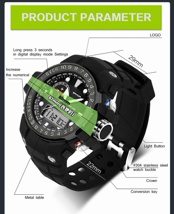 7d0d11b874a Specifications of Sanda Brand Men Sports Watches Waterproof Shock Resistant  G Style Military Digital Watch Electronic Quartz Watches Men Swimming  Digital ...