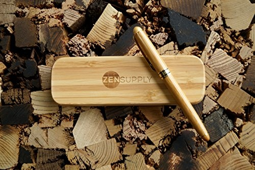 ZenSupply Hand Crafted Bamboo Fountain Gold Plated Pen In A Case | Smooth Ink Flow, Consistent Writing, Easy Refill | For Men, Women, Authors, Calligraphy, ...
