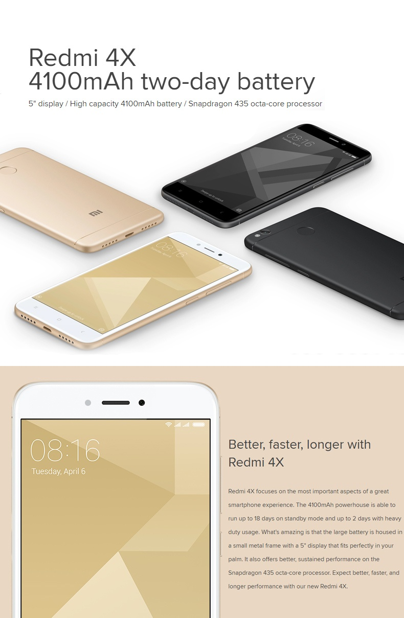 Xiaomi Redmi 4x 50 Inch 2g Ram 16g Rom Global Stable Version 2gb 16gb Gold Specifications Of