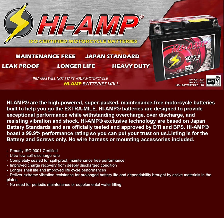 HI-AMP® Maintenance Free Motorcycle Battery