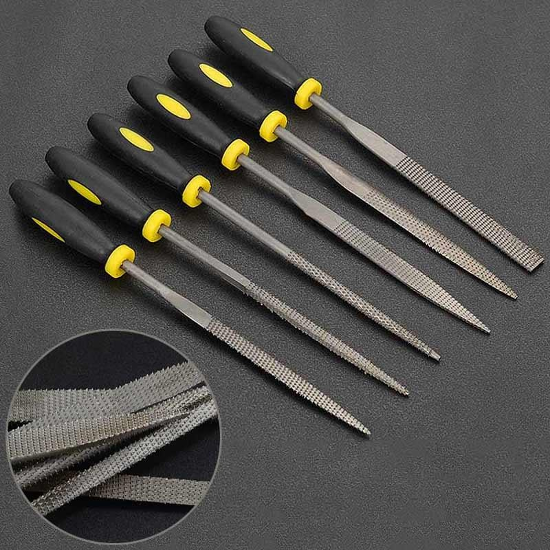 B-F 6Pcs Carbon Steel Square Round Flat Needle Files Jewelers Diamond Wood  Carving Craft Tool (3*140mm) - intl