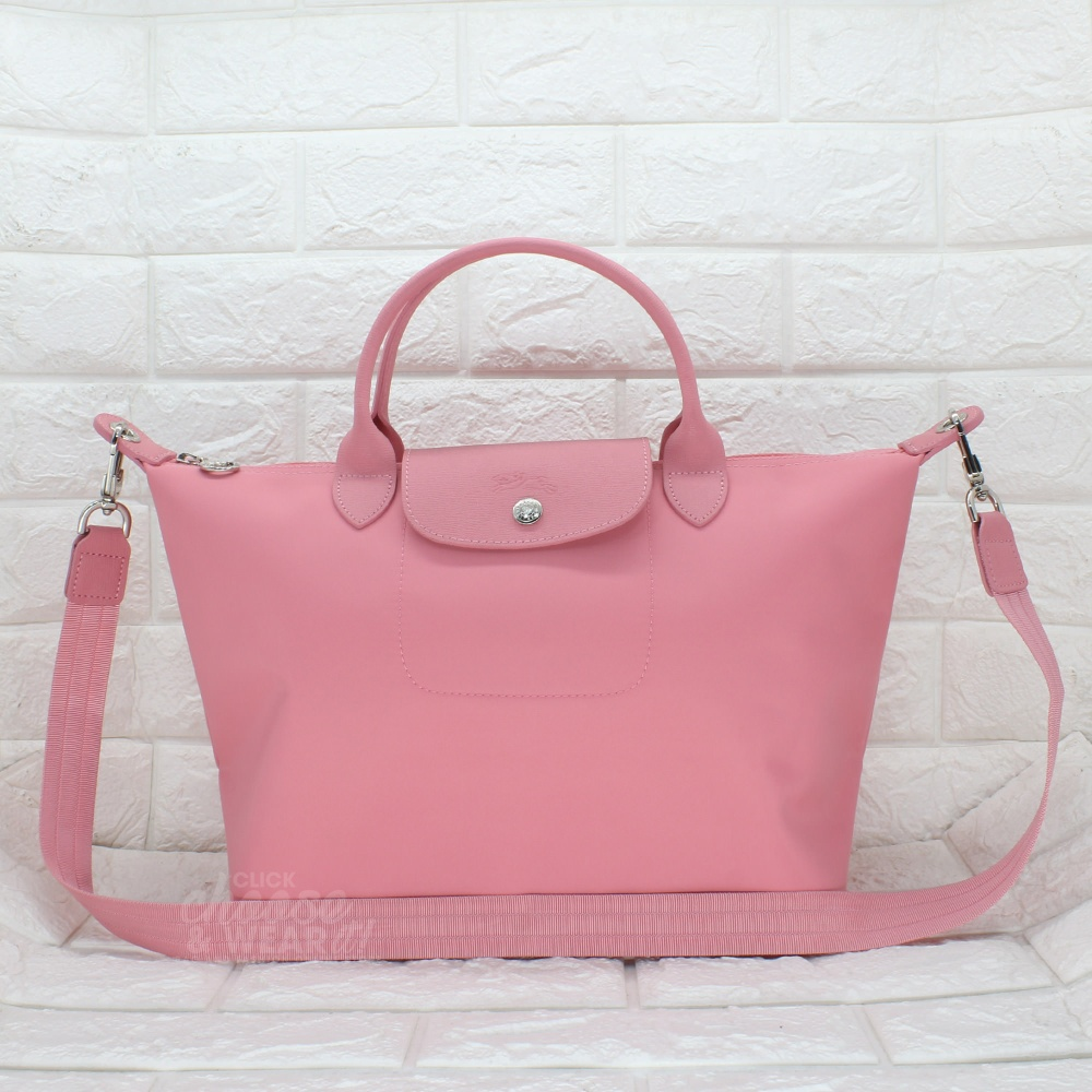Authentic Longchamp Medium Le Pliage Neo Short Top Handle Tote Made Black Specifications Of In France Salmon Pink