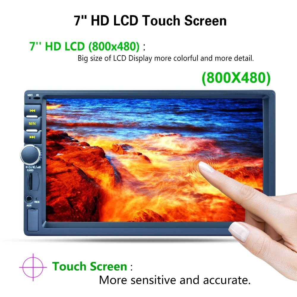 7 Inch 2 DIN Bluetooth In HD Touch Screen Car Video Stereo Player AM / FM /  RDS Radio Support Mirror Link / Aux In / Rear View Camera - intl
