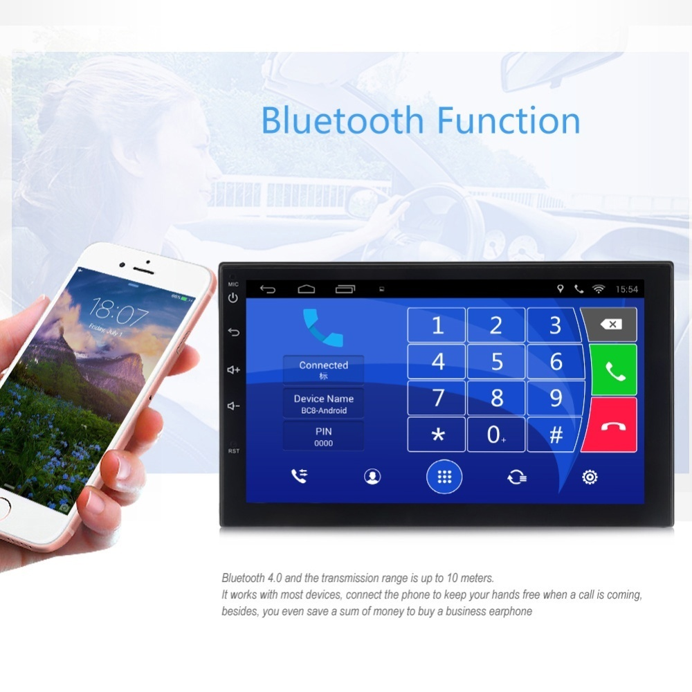 Universal 7002 Android 6.0 Bluetooth FM Radio GPS Car Multimedia Player 7 inch TFT Capacitive Touch Screen