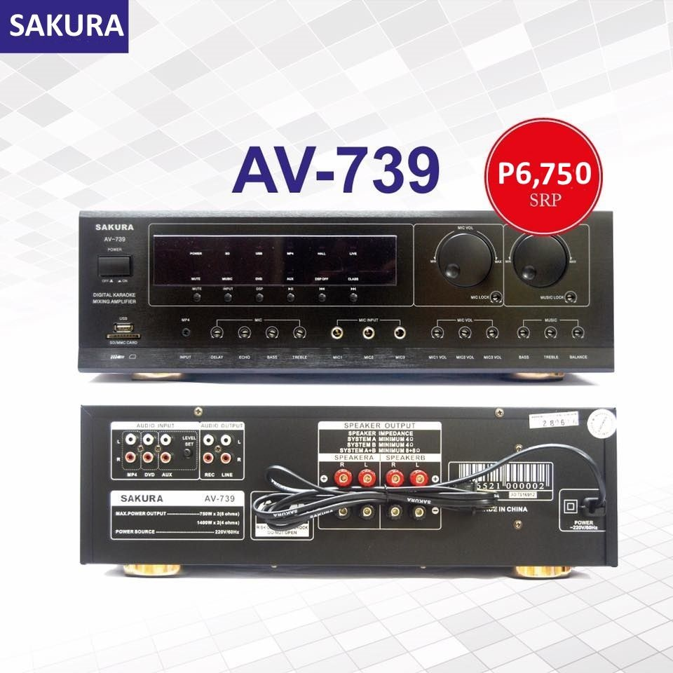 Product details of Sakura AV-739 750W X 2 Karaoke Mixing Amplifier