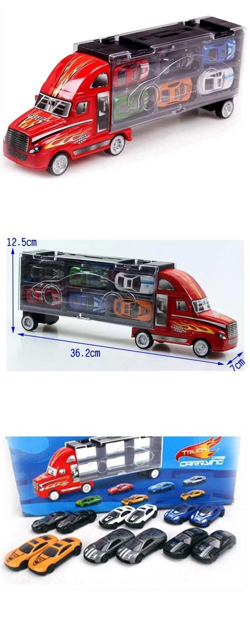 Kids Portable Toy Trailer Truck 12 pcs Racing Cars | Lazada PH
