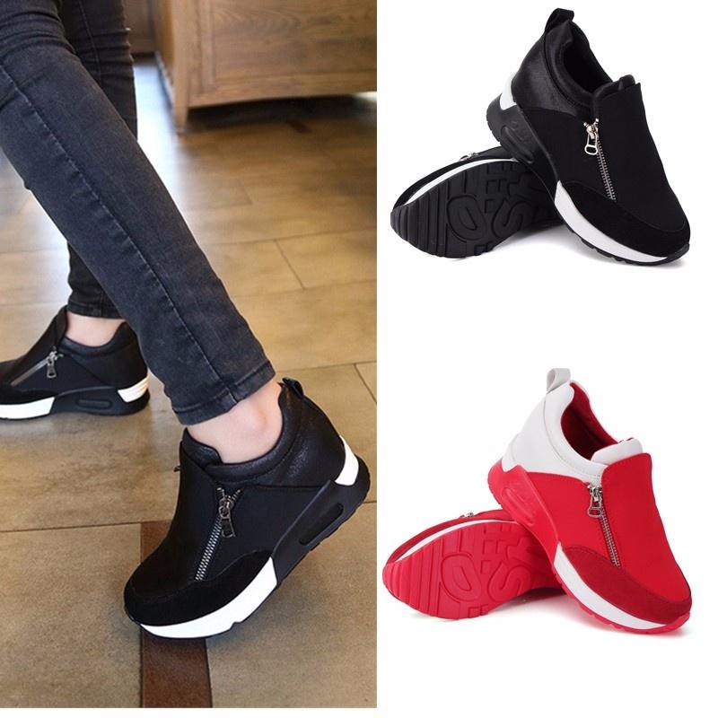 sneakers zip wedge heel sport shoes lazada ph