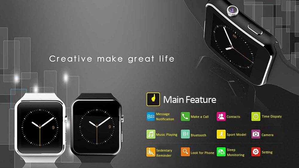 Modoex X6 Bluetooth Smartwatch for Android (Black)
