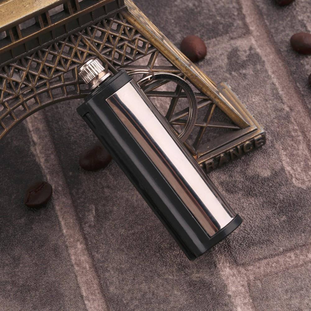 Stainless steel KeyChain Permanent Match Striker Lighter Keyring Silver/&Black KF