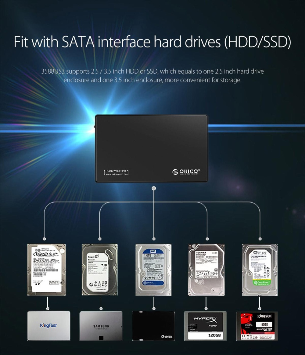 Orico 3588us3 Super Speed Usb 30 To 35 Inch Sata External Hdd Phi 35inch Protector Blue Specifications Of Enclosure Tool Free Case Black