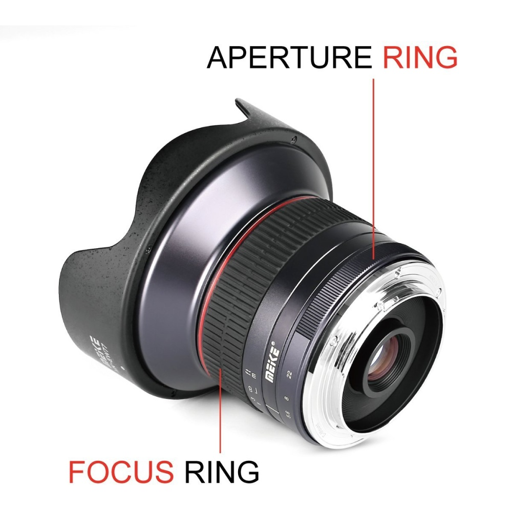 Meike Mk 12mm F 28 Ultra Wide Angle Manual Fixed Lens For Mft 50mm F2 Micro Four Third Mirrorless Includes Removable Hoodlens Pouch