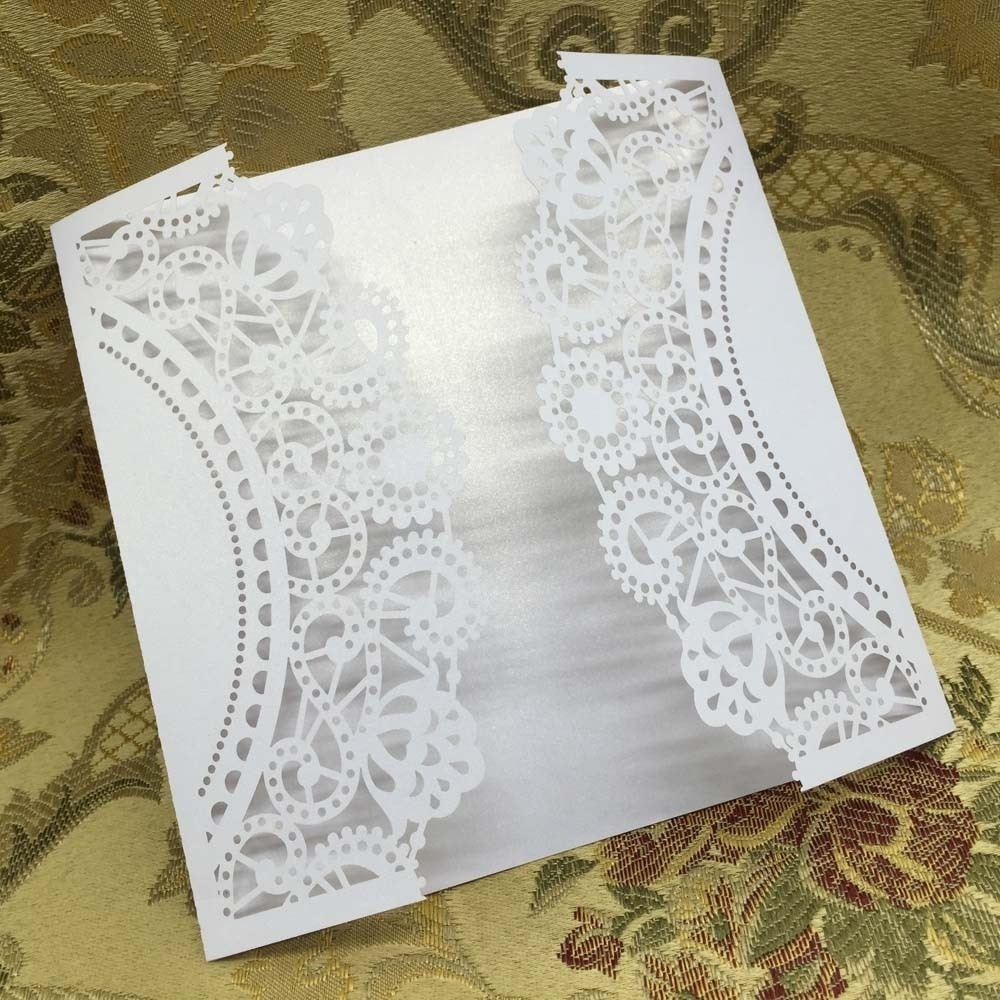 40 pcs/set White Laser Cut Wedding Invitation Cards Hollow Out Craft ...