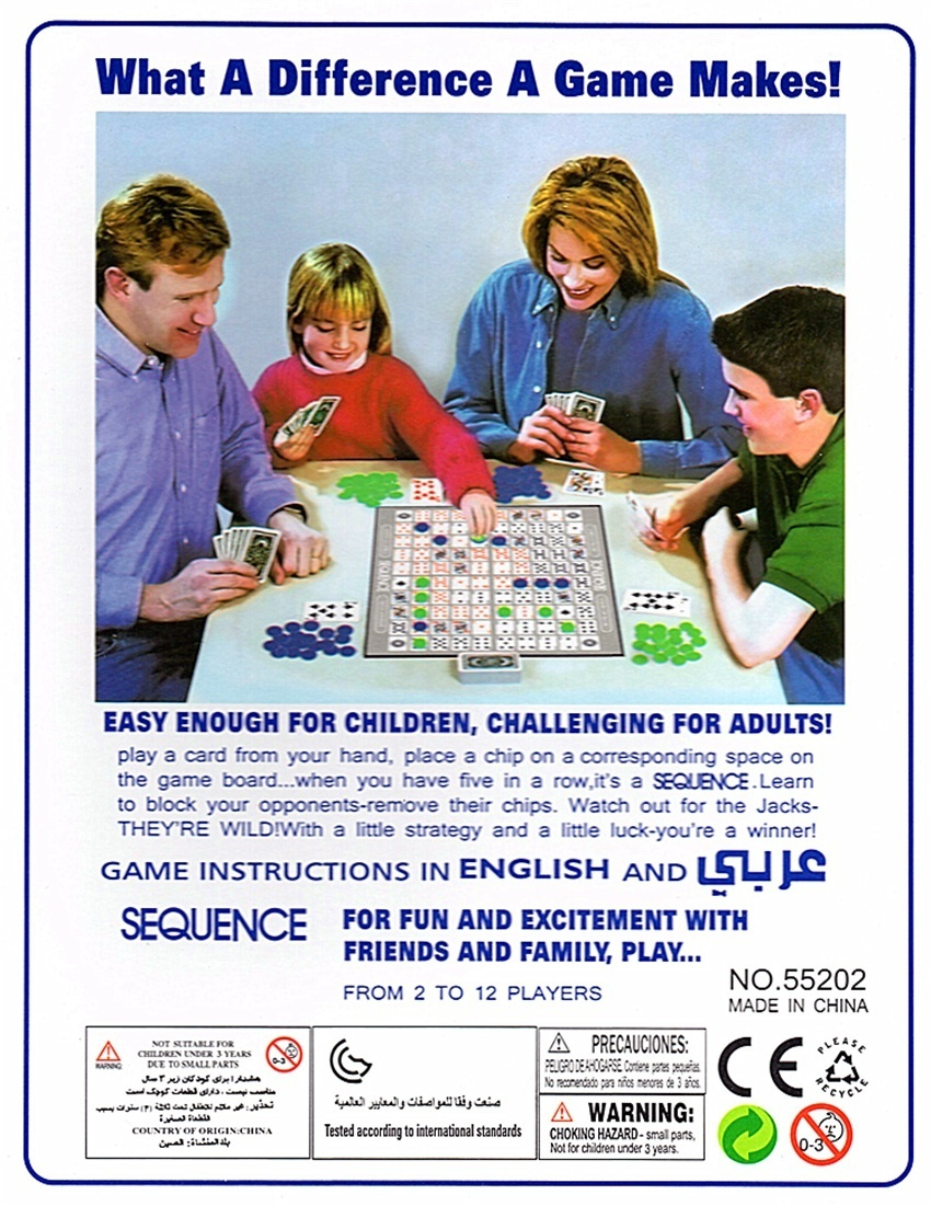 Sequence Game Suitable For 2 12 Players Board Games Family Kids Toy