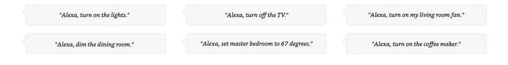 Alexa, turn on the lights.  Alexa, turn off the TV.  Alexa, turn on my living room fan.  Alexa, dim the dining room.  Alexa, set master bedroom to 67 degrees.  Alexa, turn on the coffee maker.