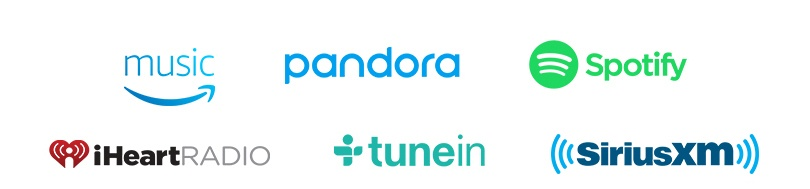 Amazon Music  Pandora  iHeartRadio  TuneIn''