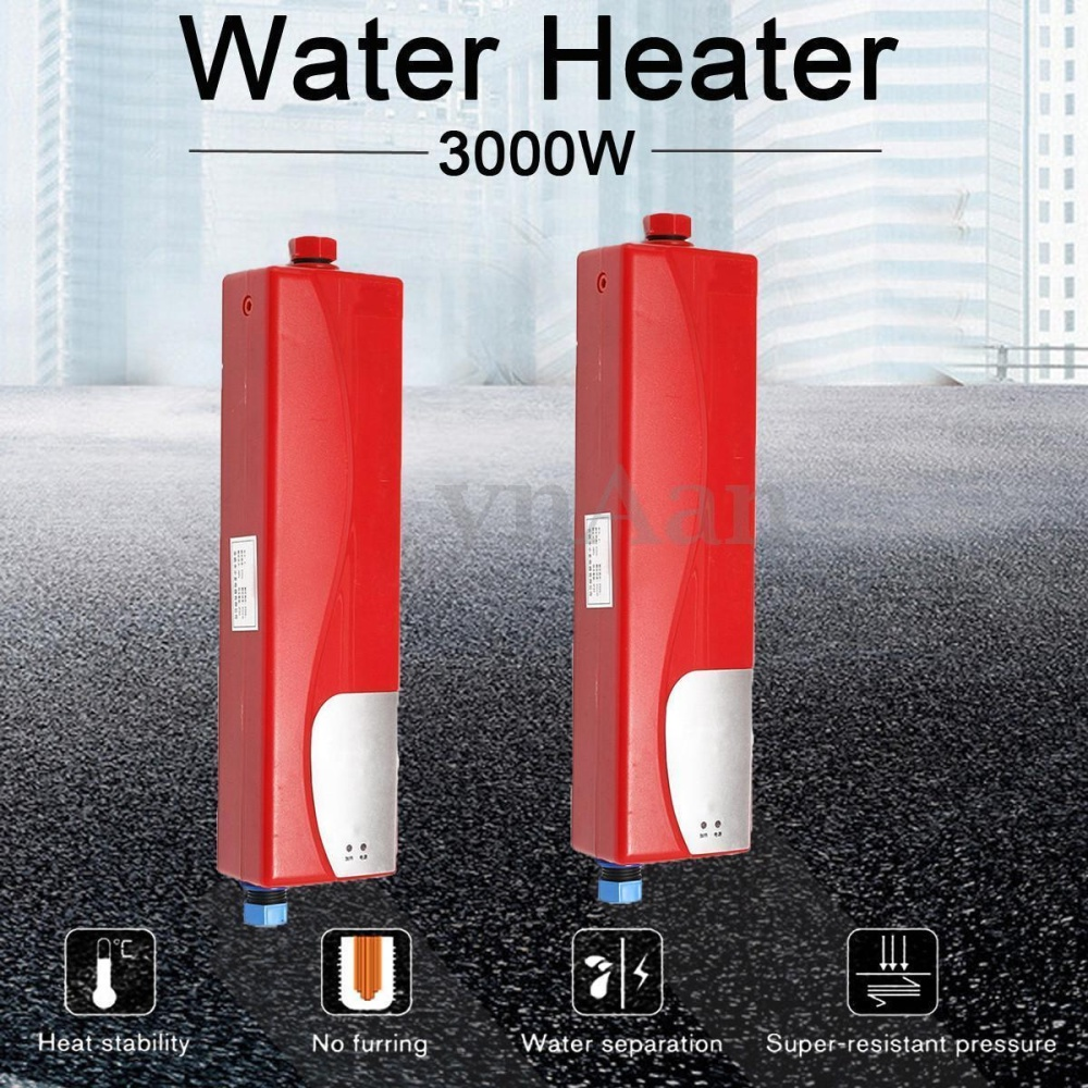 Justgogo electric tankless water heater 3000w instant for 4 bathroom tankless water heater