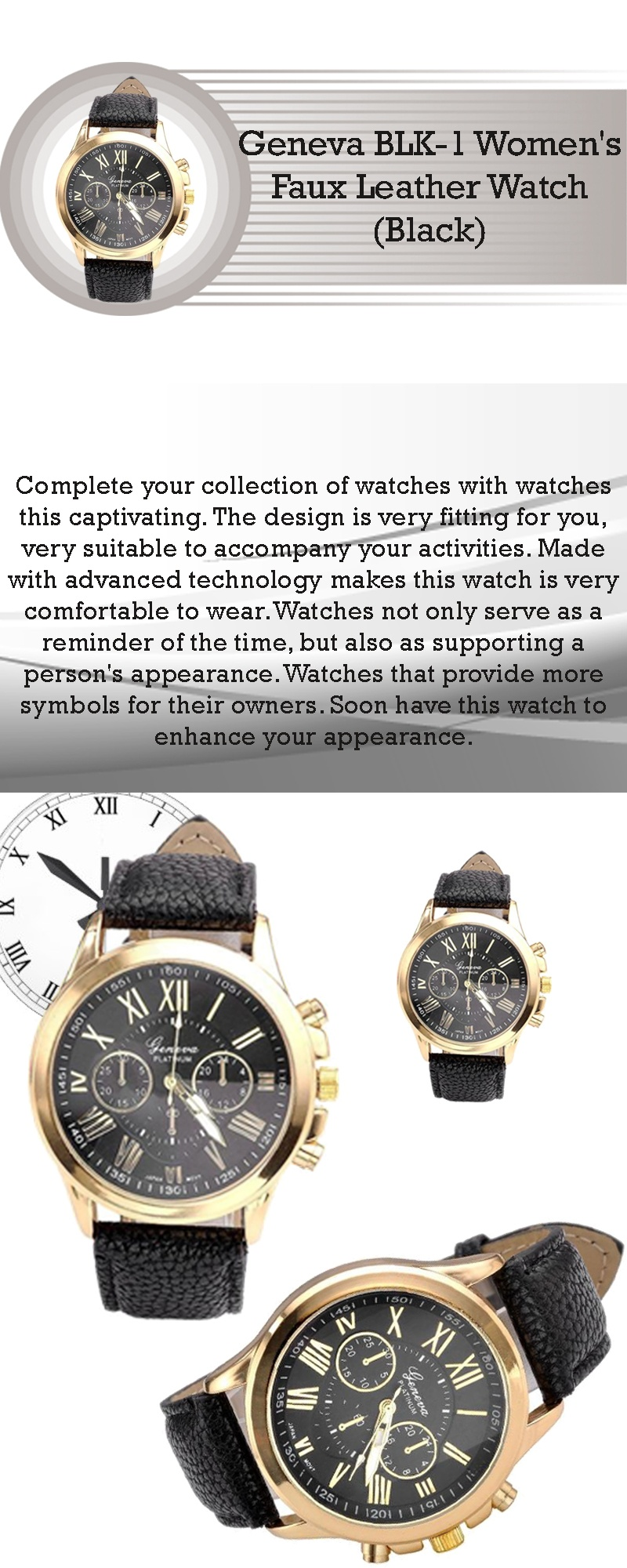 faux watches leather strap black watch expressions products geneva milano