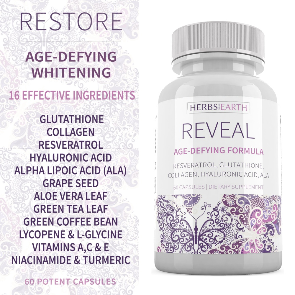 Collagen Booster With Hyaluronic Acid And Resveratrol Side Effects: REVEAL Age Defying, Whitening, Anti Wrinkle, Collagen