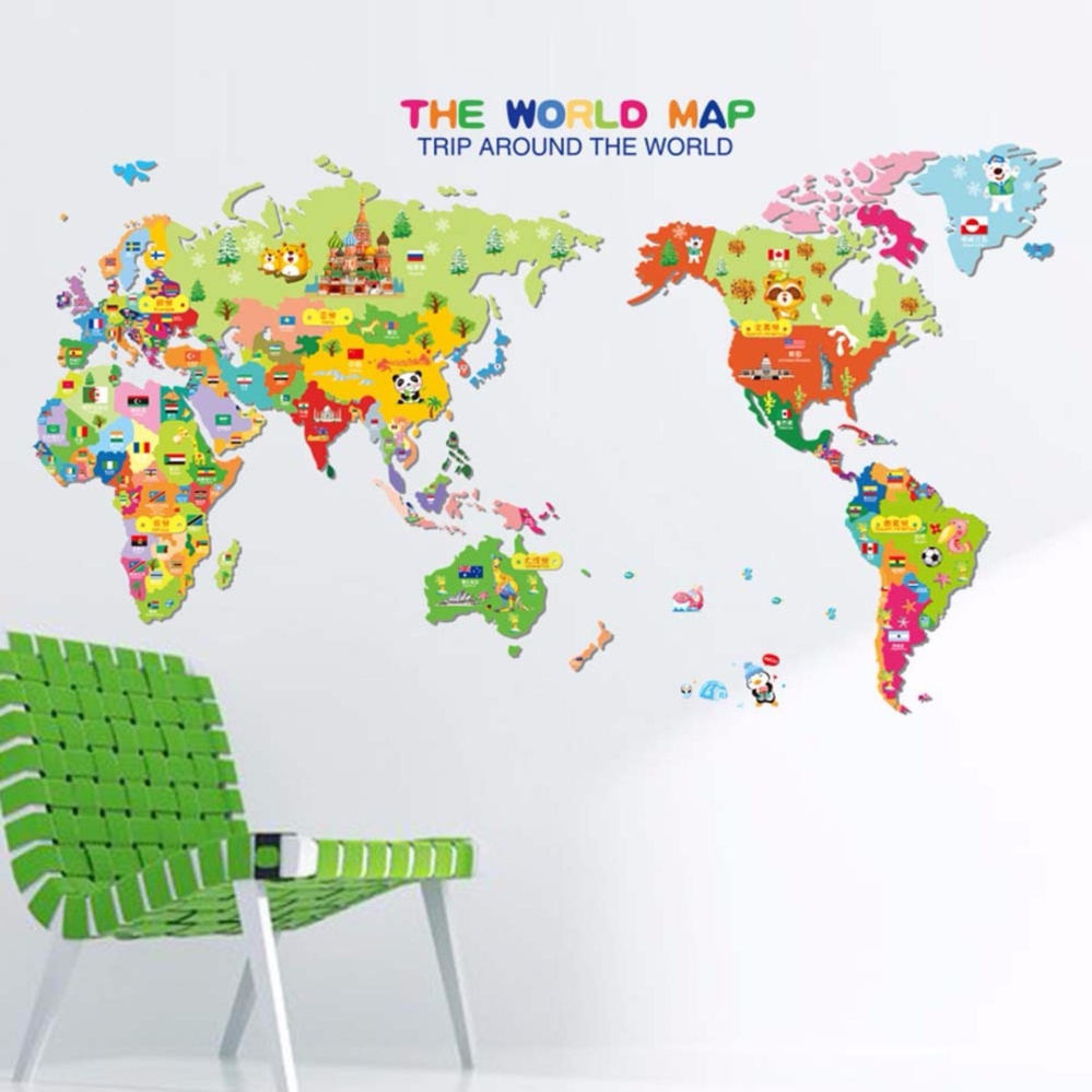 Philippines fancyqube removable animal world map wall sticker fancyqube removable animal world map wall sticker vinyl decal art mural home decor wall stickers for kids children learning gumiabroncs Images