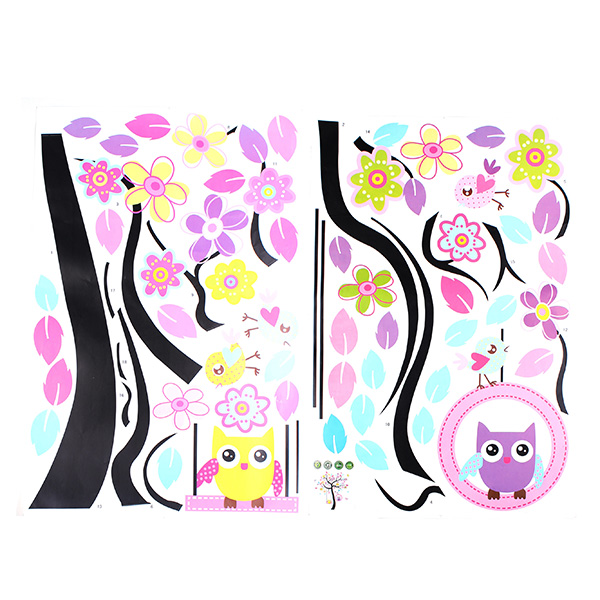 Owl Swing Flower Tree Wall Decal Removable Stickers Decor Art Kids - Instructions on how to put up a wall sticker