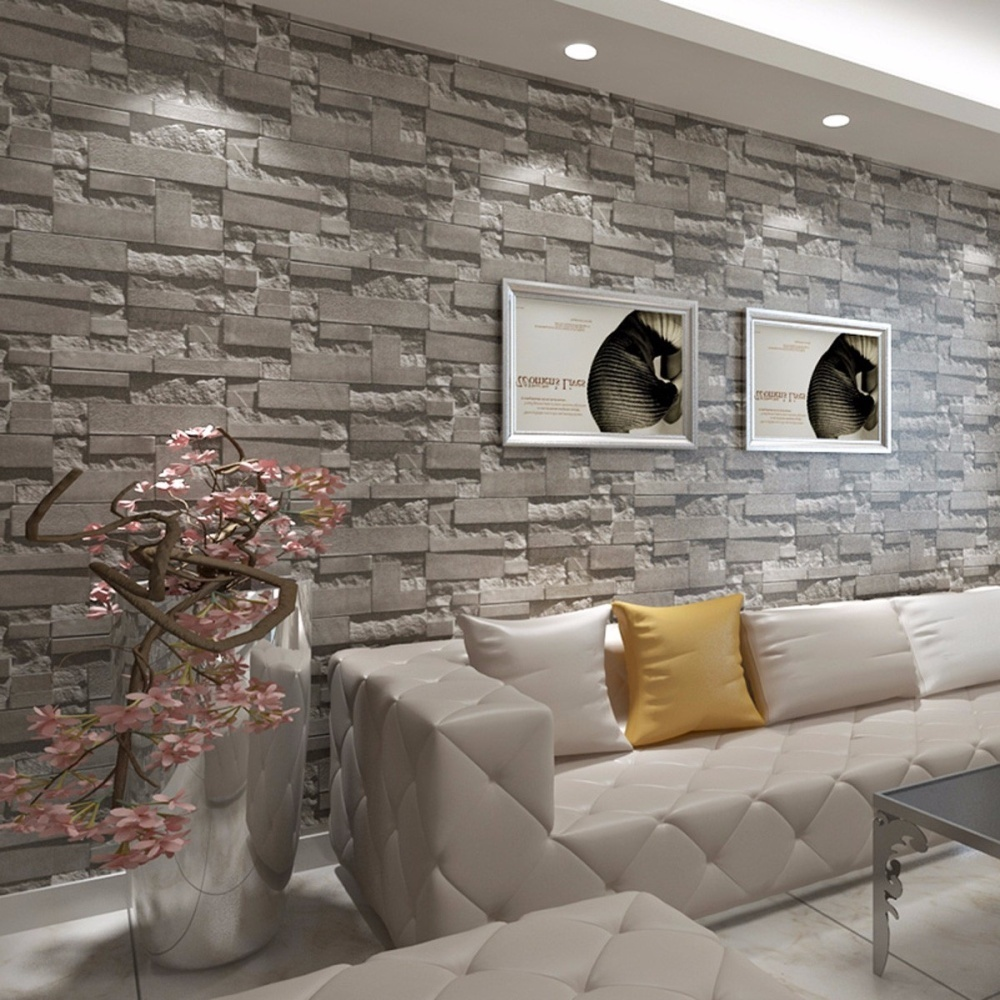 10m 3d embossed non woven brick wallpaper wall paper rolls for Grey brick wallpaper living room