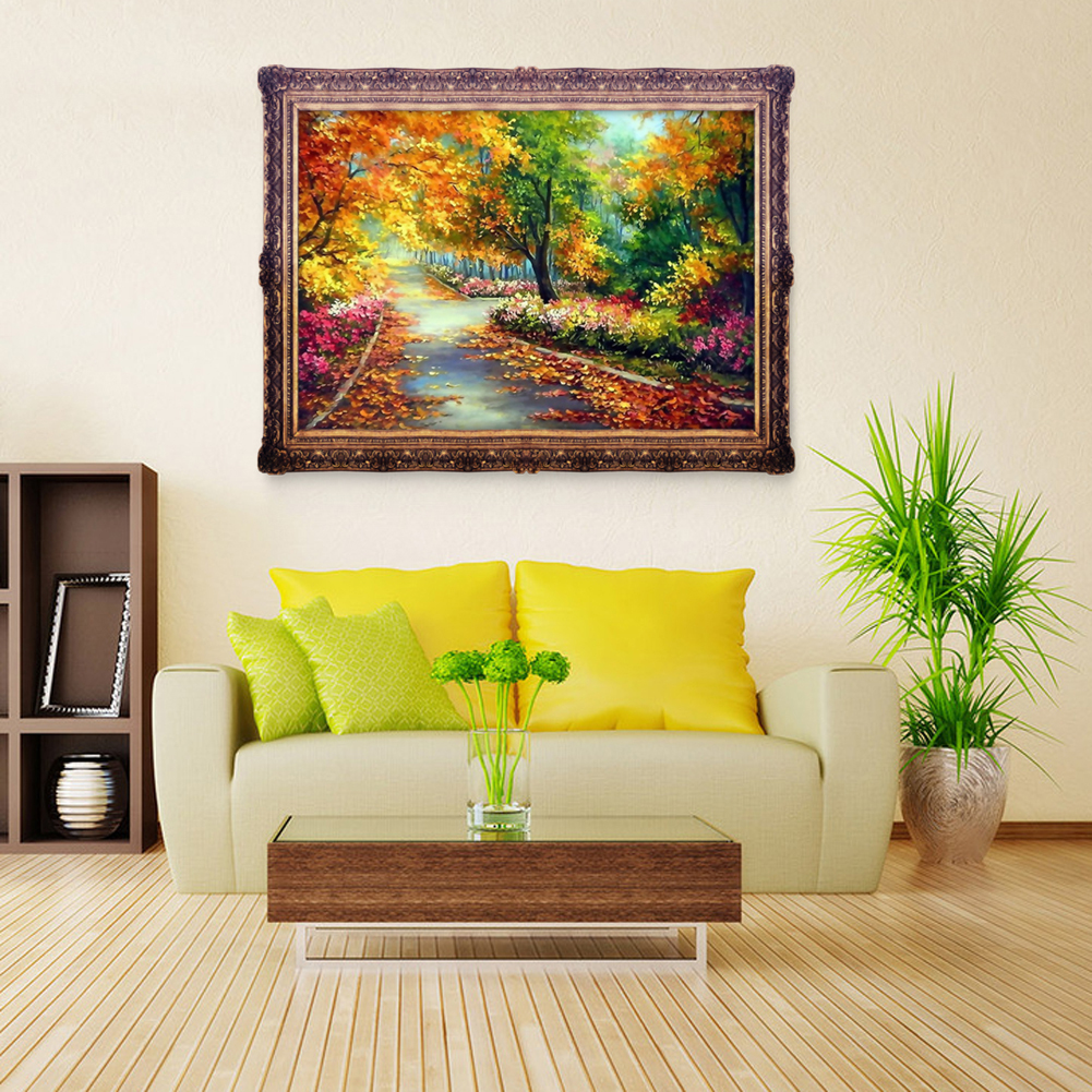 Autumn scenery 5d diamond diy painting craft kit home for Home decor 5d