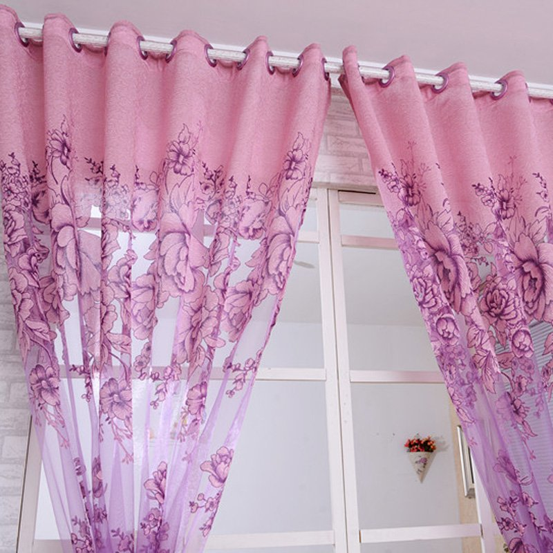 1 Pc Curtain And 1 Pc Tulle Peony Luxury Window Curtains: Peony Pattern Voile Curtain (Purple)