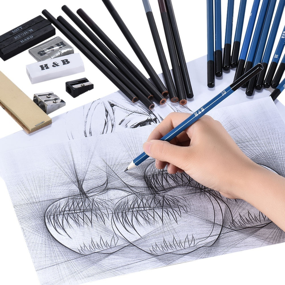 Professional sketch kit 40pcs set including graphite charcoal pastel pencils graphite charcoal sticks etc satisfies all your needs of drawing