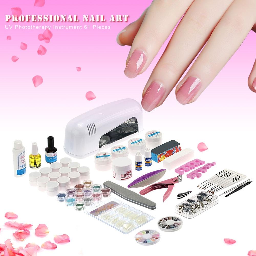 Professional Nail Art Manicure Kits Decoration 9W Lamp UV Gel Tool ...