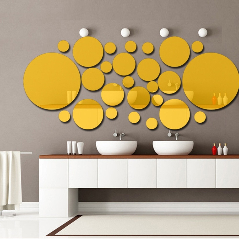 Philippines | 26pcs/set Acrylic Polka Dot Wall Mirror Stickers Room ...