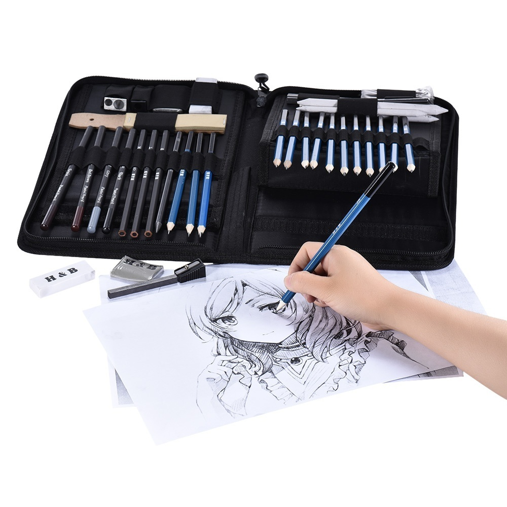 Product details of 40pcs/ Set Professional Sketching Drawing Pencils Kit Including Sketch Graphite Charcoal Pencils Sticks Erasers Sharpeners with Pop-Up ...