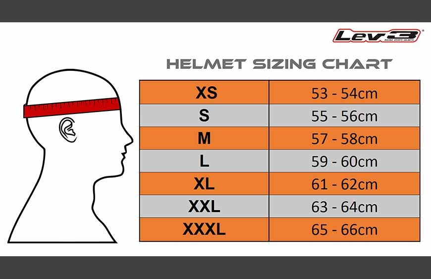 Lev3 Racing Sports Helmets Sizing Guide