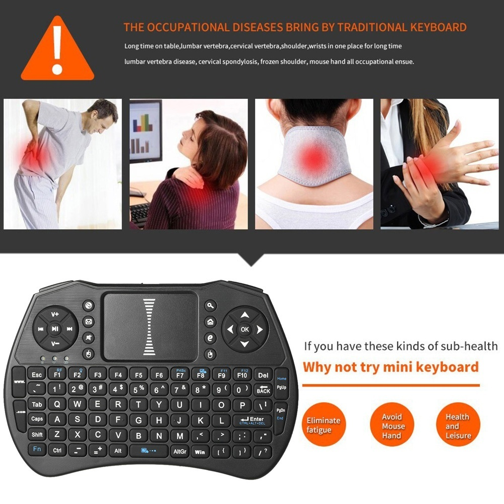Backlit 2 4GHz Wireless Keyboard Air Mouse Touchpad Handheld Remote Control  Backlight for Android TV BOX Smart TV PC Notebook - intl