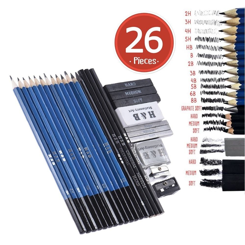 With variety of sketching pencils12pcs b 2b 3b 4b 5b 6b 8b hb 2h 3h 4h 5h for shading and light sketching