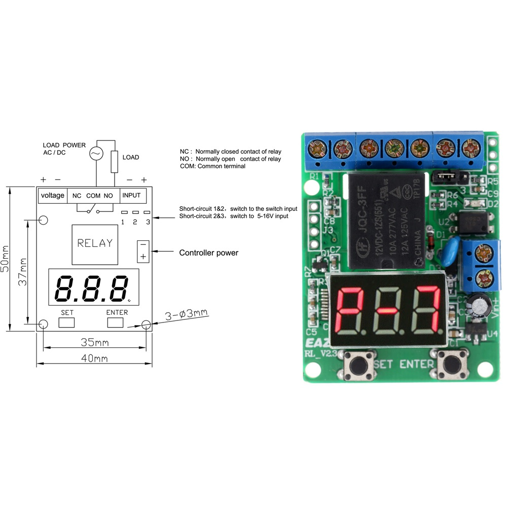 Delay Time Module Switch Control Relay Cycle Timer Dc 12v Intl 1pcs Turn On Off This Panel Compatible With Multiple Operating Modes Using Three Digits Led Display