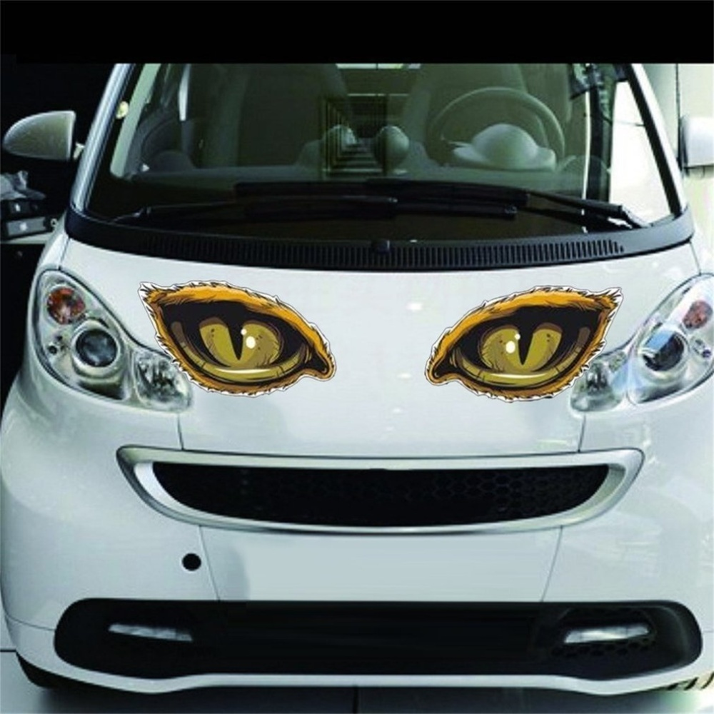 Product details of uinn stylish car stickers unique 3d eerie eagle eye design reflective d 626 yellow black 911cm intl