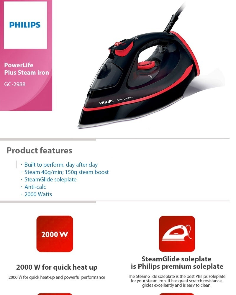Philips Powerlife Plus Steam Iron Gc2988 Built In Water Hd 1172 Dry Product Details Of Tank Premium Glide Intl