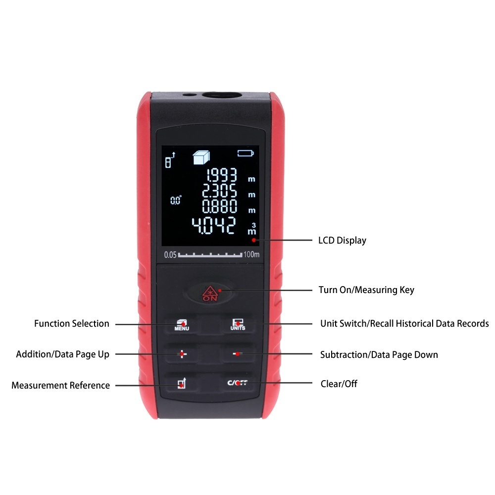 The laser distance meter with high precision can be used to measure the distance, area