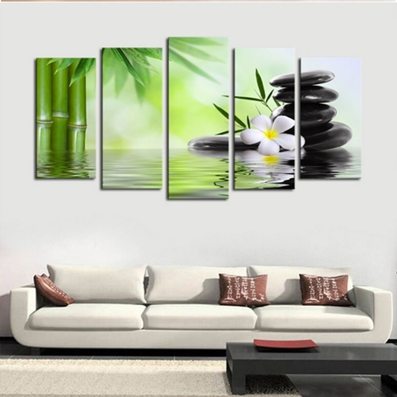 5pcs Lot Abstract Buddha Canvas Wall Art Painted Oil